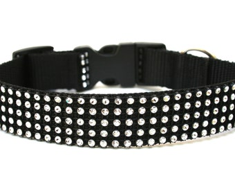 "Rhinestone Dog Collar 1"" Black and Silver Dog Collar SIZE SMALL Ready To Ship"