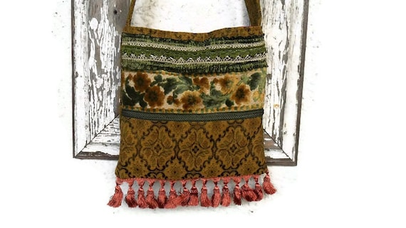 Victorian Bag Purse with French Silk Tapestry Vintage and Antique Trim and Fringe