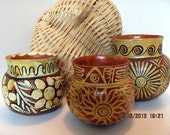 Southwestern Pottery, Set of Three Red Clay Pots, Hand Painted Pottery