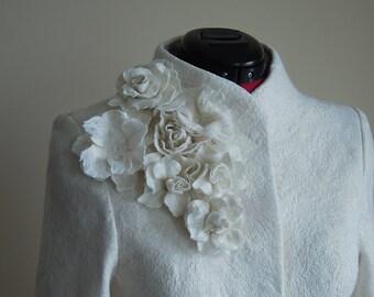 Bridal Jacket | Warm Elegant Bridal Felted Jacket | White Jacket | Wedding Jacket | White Wool Jacket | Winter Wedding | Spring Wedding |