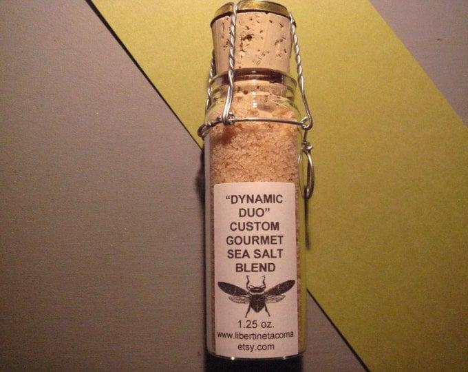 Dynamic Duo Custom Gourmet Culinary Sea Salt  Blend in 1.25 ounce Glass Vial