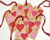 Hearts gift tags - set of 6