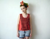 Summer Festival Crop Tank Top - 90s Vintage Minimalist Beach Sailor Unisex Sleeveless Cropped Tee Striped Red Black 1990s Low Back Top - XZOUIX