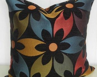 Floral Decorative Pillow Cover- 20x20 Throw Pillow- Accent Pillow Black Purple Orange Blue Green Gold