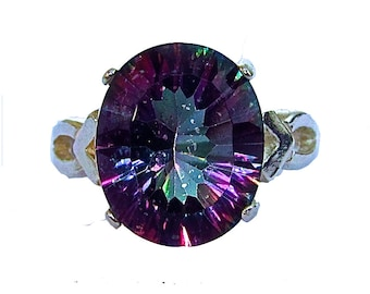 Mystic Quartz and Sterling Silver Purely Artisan Ring Size 5