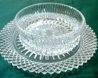 AVON Crystal Sunflower Compote Bowl and Plate 1978