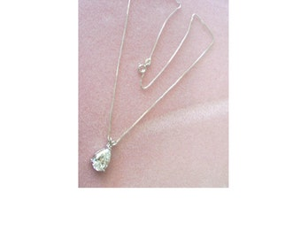 Pear Shaped CZ Pendant - Sterling Silver