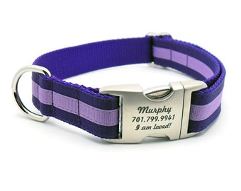 Layered Stripe Laser Engraved Personalized Dog Collar  - Purple/Lilac