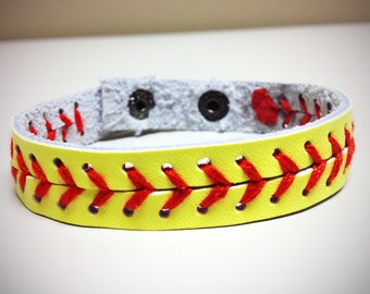 Fast Pitch Softball Yellow Seam Bracelet w/ Adjustable Snap - Fashion Jewelry for the Softball Player, Coach, Mom or Dad!