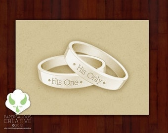 Greeting card: His One, His Only — gay marriage, LGBT wedding