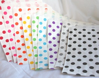 27RaiNBoW PaCK MeDiUM PoLKa Dot PaPER BAGs---party favors--gifts---weddings--showers--27ct