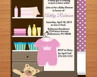 Baby Girl Dresser /  Baby Shower Invitation Cards / PRINTABLE / DIY