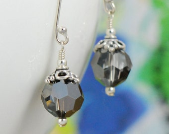 Charcoal Gray Long Dangle Earrings | Sterling Silver Drop Earrings | Gray Silver Jewelry | Sterling Night ES254