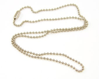Ball Chain Necklace - 30 Inch Silver Tone Chain Necklace