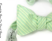 self-tie Wedding Mens Bow Tie David Bowie -  Green seafoam and ivory/light yellow Tie
