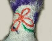 Felt Cuff, Needle Felted Wet Felt Merino, Eggplant Alpaca Fringe, Orange Flower Decoration