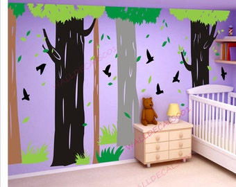 Tree Wall Decal  kids decal  Wall sticker nursery decal Nature room decor graphic mural wall decor wall art-birds in Forest