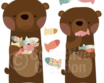Brown Bear's Catch of the Day Digital Clip Art - Personal and Commercial Use