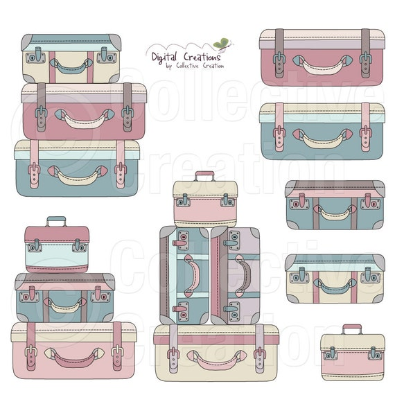 Suitcase Stack Digital Clipart Clip Art by CollectiveCreation