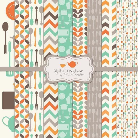Retro Kitchen Digital Paper Background Set By