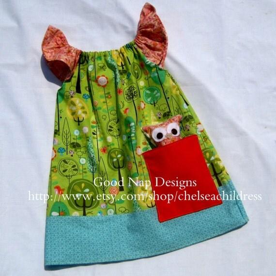 Woodland Pocket Dress with Owl Lovey
