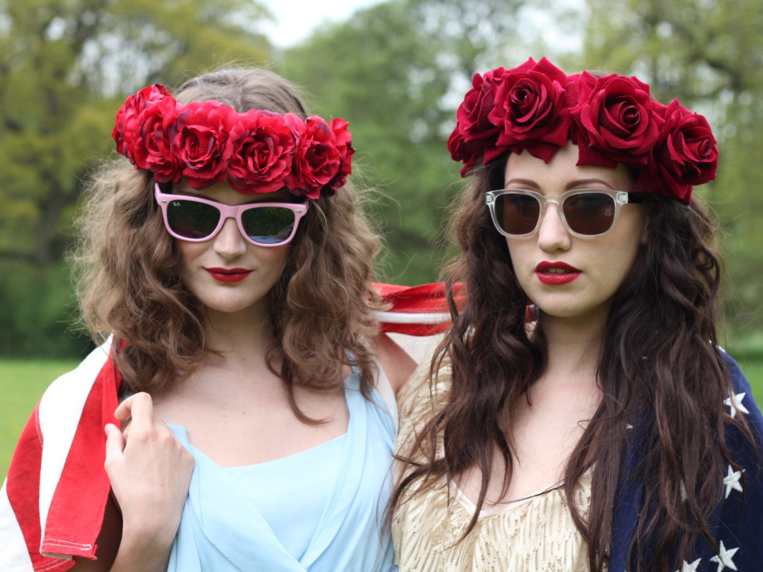 Velvet Deep Red Flower Crown Flower Child Headpiece By