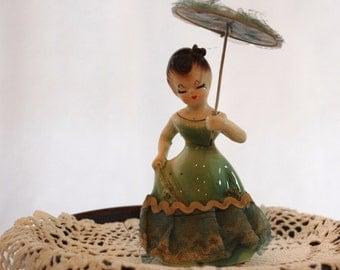 Vintage Porcelain Figurine with Parasol, Vintage Porcelain Girl Figure with Parasol from The Eclectic Interior