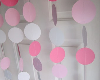 Pinks and White Paper Garland, Baby Shower Garland, Paper Garland, Pink Garland, Gender Reveal Party, Princess Party Banner