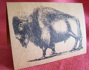 Majestic Buffalo Set of ANY 3 Greeting Note Cards Invitations Kraft Cardstock matching envelopes 5 x 7""