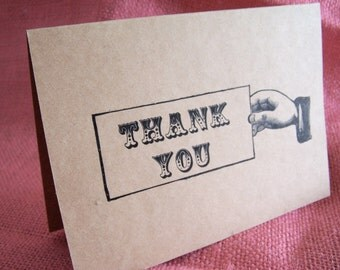 Set of 20 Vintage Thank you Greeting Note Card printed on light brown Kraft Cardstock with 20 matching envelopes 5 x 7""