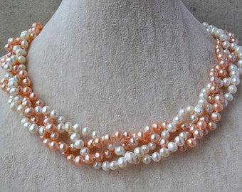 mixed color pearl necklace,Genuine Pearl Necklace,18 Inches 4 Rows 6-7mm white and pink Fresh Water Pearl necklace,Wedding Pearl Necklace