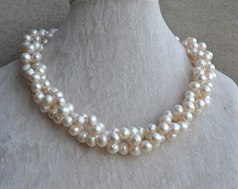 pearl necklace,twisted necklace,18 inches 8-9mm freshwater pearl necklace,white pearl necklace,wedding pearl necklace,pearl choker necklace