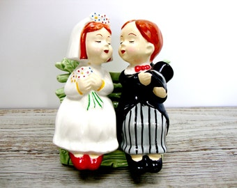 Vintage Ceramic Bride and Groom on Bench Salt and Pepper Shakers