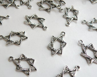 10 Star of David slanted charms antique silver 6 pointed star hexagram 23x15mm BM0015