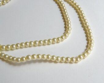 Light Yellow glass pearl beads round 4mm full strand 7730GB