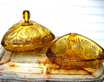Vintage amber glass ashtray and candy dish set granny chic