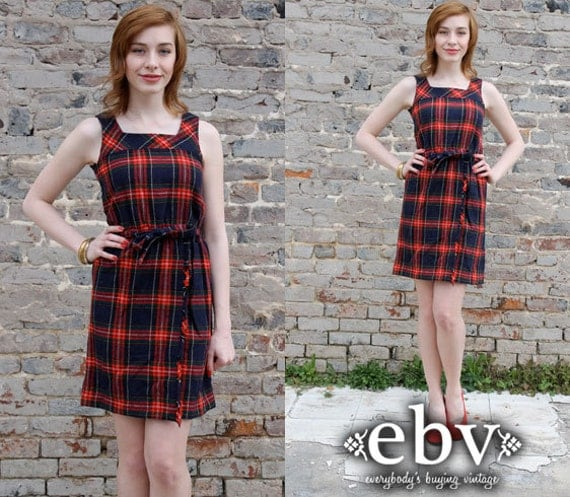 Vintage 90s Plaid Mini Dress Jumper S M Grunge Dress Plaid Dress Plaid Jumper Tartan Plaid Dress