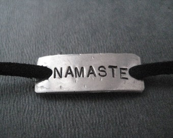 NAMASTE Wrap Bracelet  - Inspirational Jewelry - Yoga Jewelry - Nickel Silver Pendant on 3 feet of Micro Fiber Suede - Yoga Bracelet
