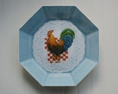 Rooster Reverse Decoupage Plate  ES40205-48