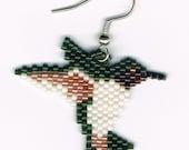 Hand Beaded Hummingbird Dangling earring  number 5