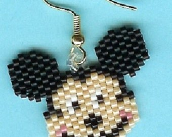 Hand Beaded Mickey Mouse earrings