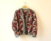 Granny Square Wool Cardigan / Red, White and Black / Grandpa Cardigan / M / Geometric Print