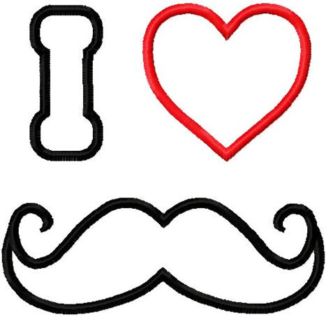 Valentine mustache embroidery design i heart mustache applique for Moustache coloring pages