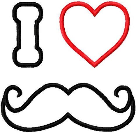 Valentine Mustache Embroidery Design I Heart Applique