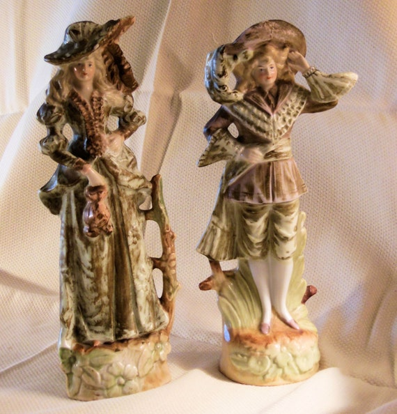 Porcelain Figurines Matching Man Woman Pair Hand Painted Pale