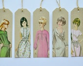 Authentic Vintage Retro Dress Pattern Ladies - set of 5 kraft gift tags with twine for tying
