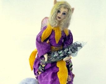 Art doll purple fabric fairy soft sculpture OOAK Elven Magic
