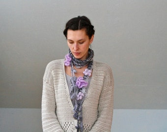 Crochet Long Flower Scarf - PDF PATTERN - Permission to Sell Finished Items