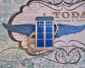 "Steampunk ""Tardis Pilot"" Blue Tardis and Gears Wings - Airship Pilot / Taris Pilot / Steampunk Whoovian"