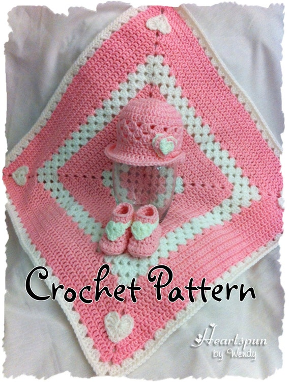 Sweet Hearts Baby Hat, Booties and Blanket Set CROCHET PATTERN in 3 sizes, PDF Format.  Shape brim to wear different ways